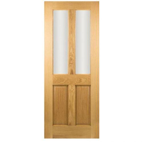 Seadec-Waterford-Oak-2-Panel-Clear-Beveled-Glass-78X30